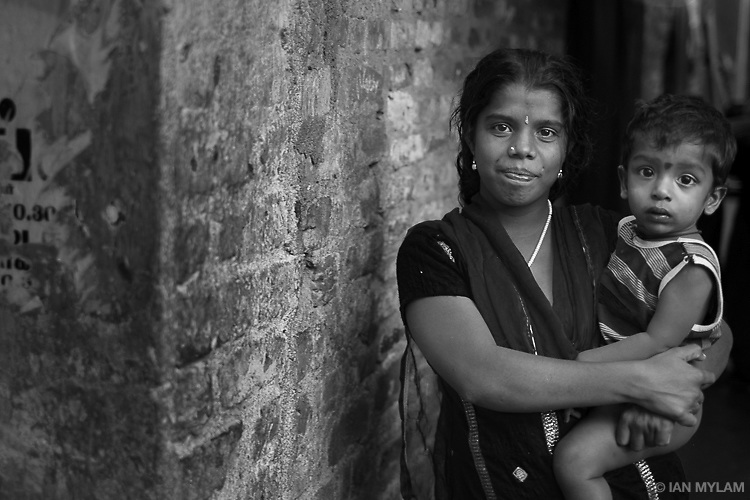 Woman with small child - Chennai, India