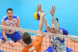 Jelte Maan of Netherland and Ziga Stern of Slovenia during friendly volleyball match between National Men teams of Slovenia and Netherlands, on Januar 2nd, 2020, in Dvorana Tabor, Maribor, Slovenia. Photo by Miloš Vujinović / Sportida