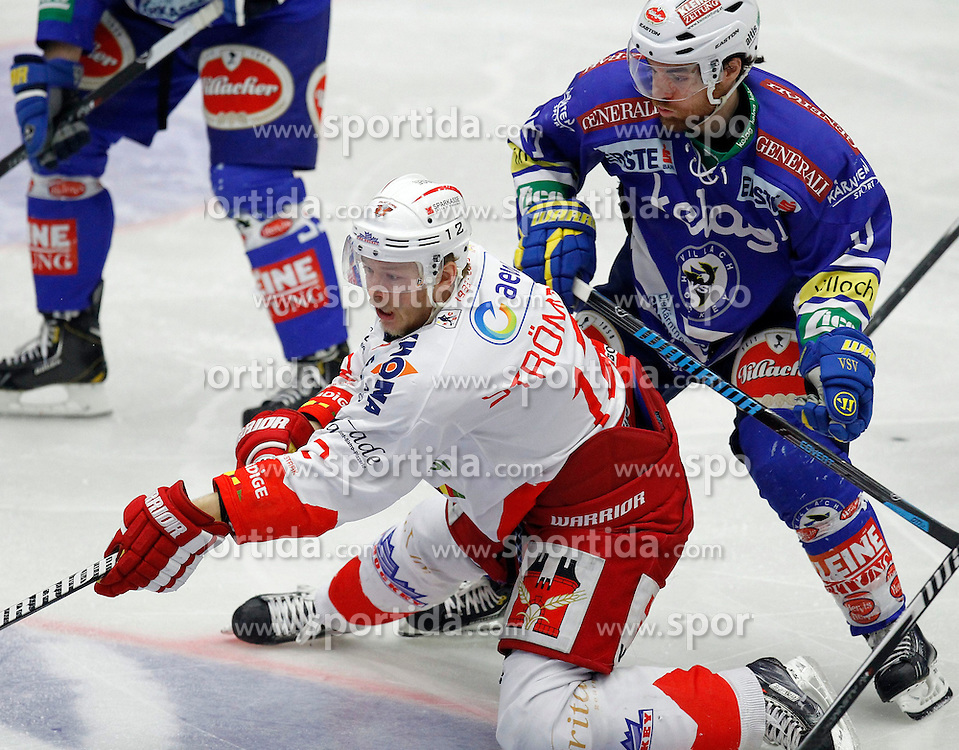30.03. 2014, Stadthalle, Villach, AUT, EBEL, EC VSV vs HCB Suedtirol, Playoff Halbfinale 4. Runde, im Bild Kim Stroemberg (HCB Suedtirol,#12) und Brock McBride (VSV,#10) // during the Erste Bank Icehockey League Playoff Semifinal 4th Round match between EC VSV vs HCB Suedtirol at the City Hall, Villach, Austria, 2014/03/30, EXPA Pictures © 2014, PhotoCredit: EXPA/ Oskar Hoeher
