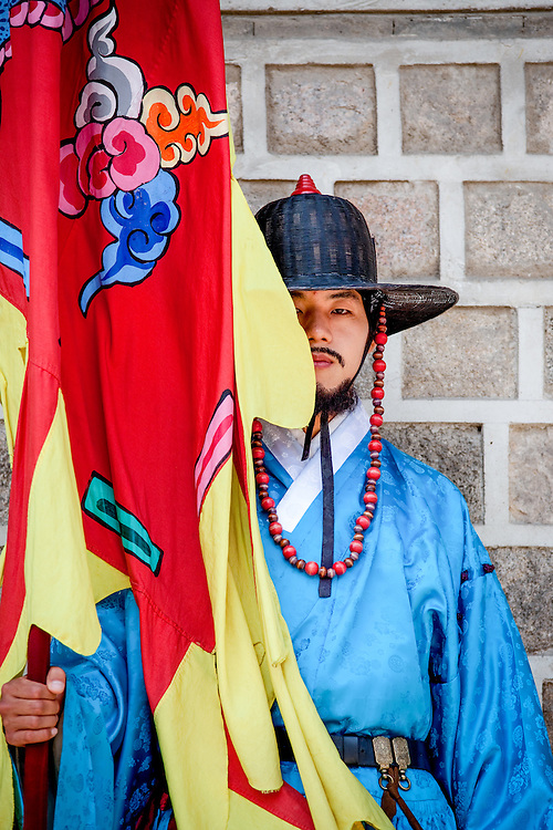 Portrait of a palace guard after the ceremony of opening and closing the main palace gate at Gwanghwamun of Gyeongbokgung Palace in Seoul.