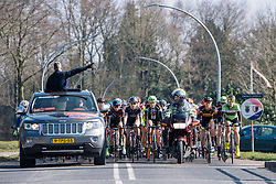 Peloton lead to the end of the neutral zone  - Drentse 8, a 140km road race starting and finishing in Dwingeloo, on March 13, 2016 in Drenthe, Netherlands.