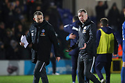 Peterborough United manager Darren Ferguson walking off the pitch with his arms open during the EFL Sky Bet League 1 match between AFC Wimbledon and Peterborough United at the Cherry Red Records Stadium, Kingston, England on 18 January 2020.
