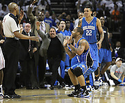 CHARLOTTE - APRIL 24: Guard Jameer Nelson #14 of the Orlando Magic pleads with referee Leon Wood after he made a three point shot during the game between the Charlotte Bobcats and the Orlando Magic during Game Three of the Eastern Conference Quarterfinals during the 2010 NBA Playoffs at Time Warner Cable Arena on April 24, 2010 in Charlotte, North Carolina. NOTE TO USER: User expressly acknowledges and agrees that, by downloading and/or using this photograph, user is consenting to the terms and conditions of the Getty Images License Agreement.  (Photo by Mike Zarrilli/Getty Images) *** Local Caption *** Jameer Nelson; Leon Wood