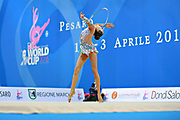 "Adilkhanova Alina from Kazakhstan during hoop routine at the International Tournament ""Città di Pesaro"",01 April,2016.This tournament dedicated to the youngest athletes is at the same time of the World Cup."