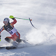 Hideyuki Narita, Japan, in action during the Men's Slalom event during the Winter Games at Cardrona, Wanaka, New Zealand, 24th August 2011. Photo Tim Clayton...