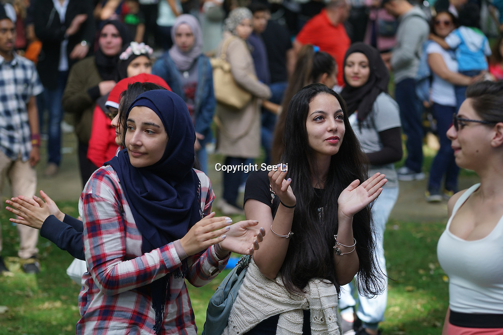 London,England,UK : 10th July 2016 : Lebanese community celebrate Lebanese Festival Day 2016 promote Lebanese culture food with music and dances at Paddington Green, London. Photo by See Li