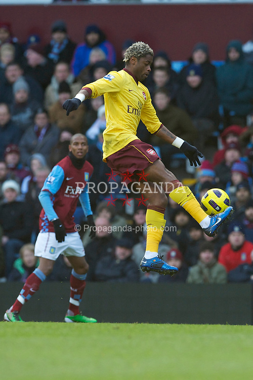 BIRMINGHAM, ENGLAND - Saturday, November 27, 2010: Arsenal's Alexandre Song Billong in action against Aston Villa during the Premiership match at Villa Park. (Pic by: David Rawcliffe/Propaganda)