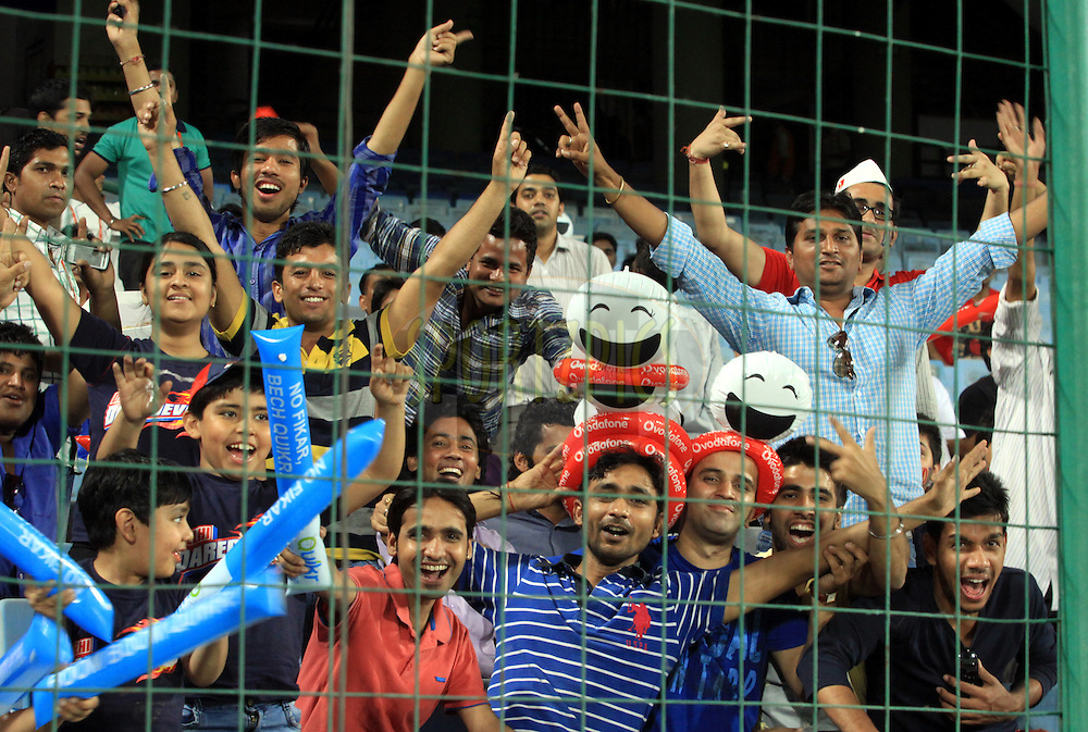 IPL lovers during match 23 of the Pepsi Indian Premier League Season 2014 between the Delh]i Daredevils and the Rajasthan Royals held at the Feroze Shah Kotla cricket stadium, Delhi, India on the 3rd May  2014<br /> <br /> Photo by Arjun Panwar / IPL / SPORTZPICS<br /> <br /> <br /> <br /> Image use subject to terms and conditions which can be found here:  http://sportzpics.photoshelter.com/gallery/Pepsi-IPL-Image-terms-and-conditions/G00004VW1IVJ.gB0/C0000TScjhBM6ikg