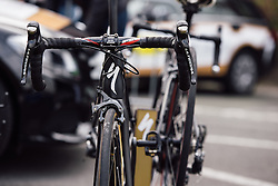 Topsport Vlaanderen's Specialized steeds wait to be raced - Dwars door Vlaanderen 2016, a 103km road race from Tielt to Waregem, on March 23rd, 2016 in Flanders, Netherlands.