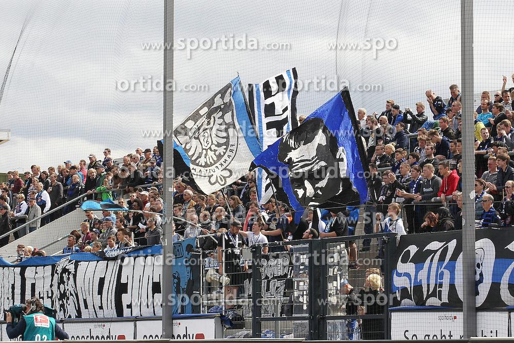 11.04.2015, Frankfurter Volksbank Stadion, Frankfurt, GER, 2. FBL, FSV Frankfurt vs SpVgg Greuther Fuerth, 28. Runde, im Bild FSV Fans // during the 2nd German Bundesliga 28th round match between FSV Frankfurt and SpVgg Greuther Fuerth at the Frankfurter Volksbank Stadion in Frankfurt, Germany on 2015/04/11. EXPA Pictures &copy; 2015, PhotoCredit: EXPA/ Eibner-Pressefoto/ Roskaritz<br /> <br /> *****ATTENTION - OUT of GER*****