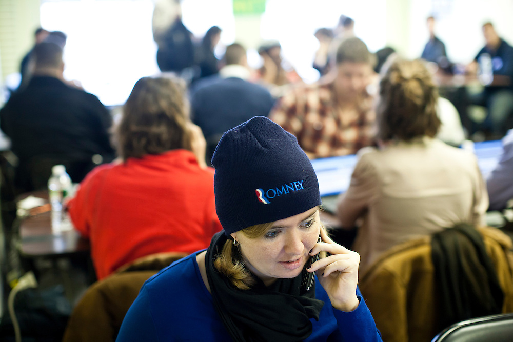 Kristinia Beacom, a volunteer from Washington, DC, makes phone calls to likely voters at the New Hampshire campaign headquarters of Republican presidential candidate Mitt Romney on Monday, January 9, 2012 in Manchester, NH. Brendan Hoffman for the New York Times