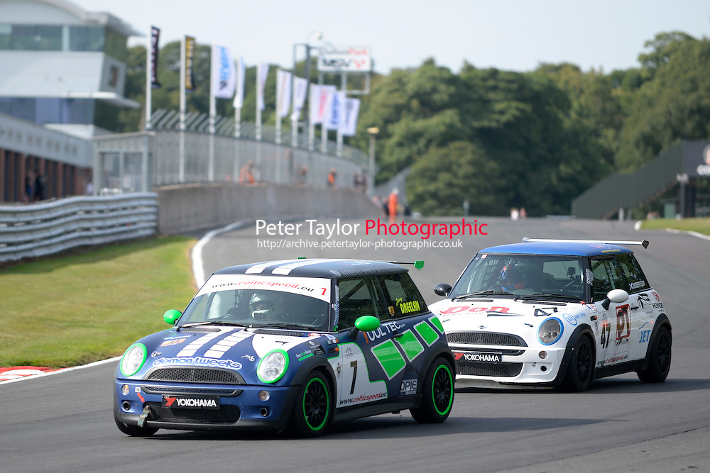 #7 Jonny Dreelan Mini Cooper during Celtic Speed Scottish Mini Cooper Cup Race 2 as part of the Mini Festival  at Oulton Park, Little Budworth, Cheshire, United Kingdom. August 08 2015. World Copyright Peter Taylor. Copy of publication required for printed pictures.  Every used picture is fee-liable. http://archive.petertaylor-photographic.co.uk
