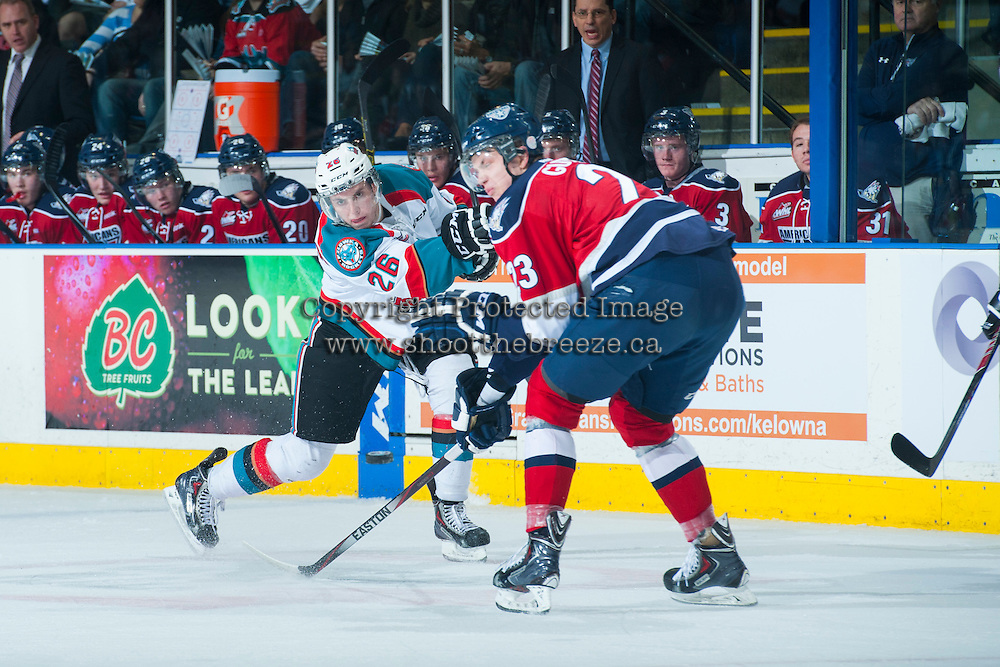 KELOWNA, CANADA - MARCH 27: Cole Linaker #26 of Kelowna Rockets takes a shot against the Tri-City Americans on March 27, 2015 at Prospera Place in Kelowna, British Columbia, Canada.  (Photo by Marissa Baecker/Shoot the Breeze)  *** Local Caption *** Cole Linaker;