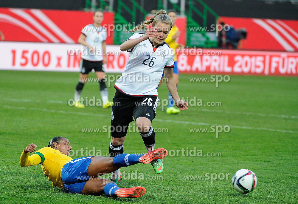 08.04.2015, Stadion am Laubenweg, Fuerth, GER, FS Vorbereitung, Deutschland vs Brasilien, im Bild Margarita Gidion (Deutschland) 26 wird gebremst // during the International Womens Football Match between Germany and Brasil at the Stadion am Laubenweg in Fuerth, Germany on 2015/04/08. EXPA Pictures &copy; 2015, PhotoCredit: EXPA/ Eibner-Pressefoto/ Schreyer<br /> <br /> *****ATTENTION - OUT of GER*****
