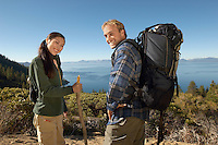 Couple hiking at coast (portrait)
