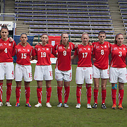 21120413 - HARELBEKE, BELGIUM : Team Switzerland is pictured here  during the Second qualifying round of U17 Women Championship between Switzerland and Belgium on Friday April 13th, 2012 in Harelbeke, Belgium.