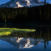 Mt. Rainier and mirror image in Reflection Lake, Mt. Rainier National Park, WA.
