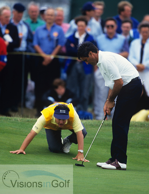 Caddie Billy Foster and Seve Ballesteros The Open 1994<br /> Photo credit:  Mark Newcombe / www.visionsingolf.com