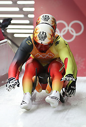 PYEONGCHANG, Feb. 15, 2018  Tobias Wendl and Tobias Arlt of Germany start run during team relay competition of luge at 2018 PyeongChang Winter Olympic Games at Olympic Sliding Centre, PyeongChang, South Korea. Team Germany claimed champion in a time of 2:24.517. (Credit Image: © Li Gang/Xinhua via ZUMA Wire)