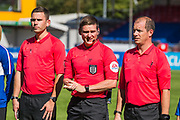 Lee Collins(Referee), Colin Hubbard (Assistant Referee) & Robert Ablitt (Assistant Referee) prior to the FA Women's Super League match between Brighton and Hove Albion Women and Chelsea at The People's Pension Stadium, Crawley, England on 15 September 2019.