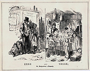 Here and There; Or, Emigration a Remedy': Cartoon from 'Punch', London,  1848,  contrasting the misery of the poorly paid or unemployed British worker with the happiness and plenty he could enjoy if he emigrated to the Antipodes.