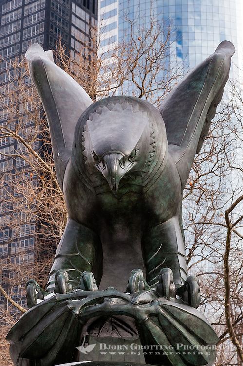 US, New York City. Battery Park located at the southern tip of Lower Manhattan. East Coast Memorial eagle.