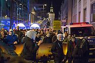 Bautzen, Saxony, Germany - 07.10.2016<br /> <br /> About 300 neo-Nazis gathered in center of Bautzen to protest against refugees, the German government, journalists and political opponents. The mood was partly aggressive and there were attacks on journalists by the right-wing radicals. About 150 people join a leftwing counter-demonstration.<br /> <br /> Etwa 300 Neonazis versammelten sich in der Innenstadt von Bautzen um gegen Fl&uuml;chtlinge, die Bundesregierung, Medien und Andersdenkende zu protestieren. Die Stimmung war teilweise aggressiv und es gab Uebergriffen auf Journalisten durch die Rechtsradikale. Circa 150 Menschen nahmen an einer linken Gegendemonstration teil.<br /> <br /> Photo: Bjoern Kietzmann