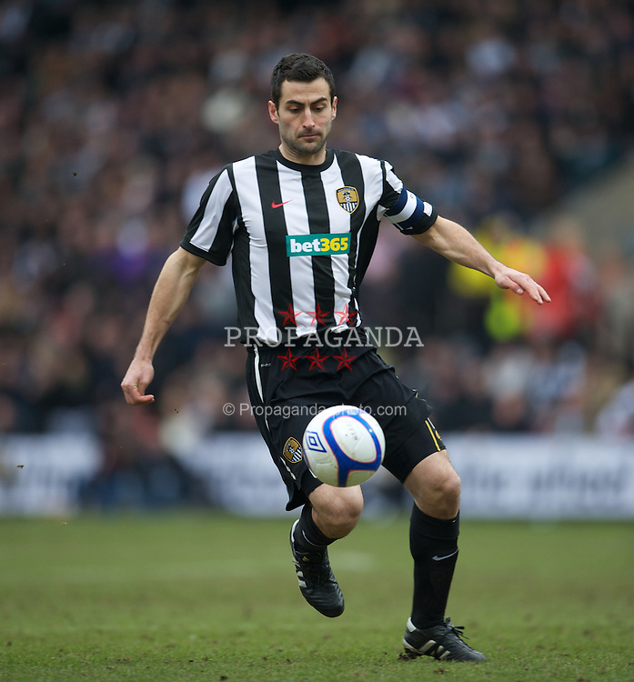 NOTTINGHAM, ENGLAND - Sunday, January 30, 2011: Notts County's captain Mike Edwards in action against Manchester City during the FA Cup 4th Round match at Meadow Lane. (Photo by David Rawcliffe/Propaganda)