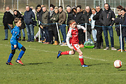 Arsenal Ladies Under 10 and AC Finchley boys team play a football game at Univeristy of Hertfordshire's campus sports village  football pitch in Hatfield.