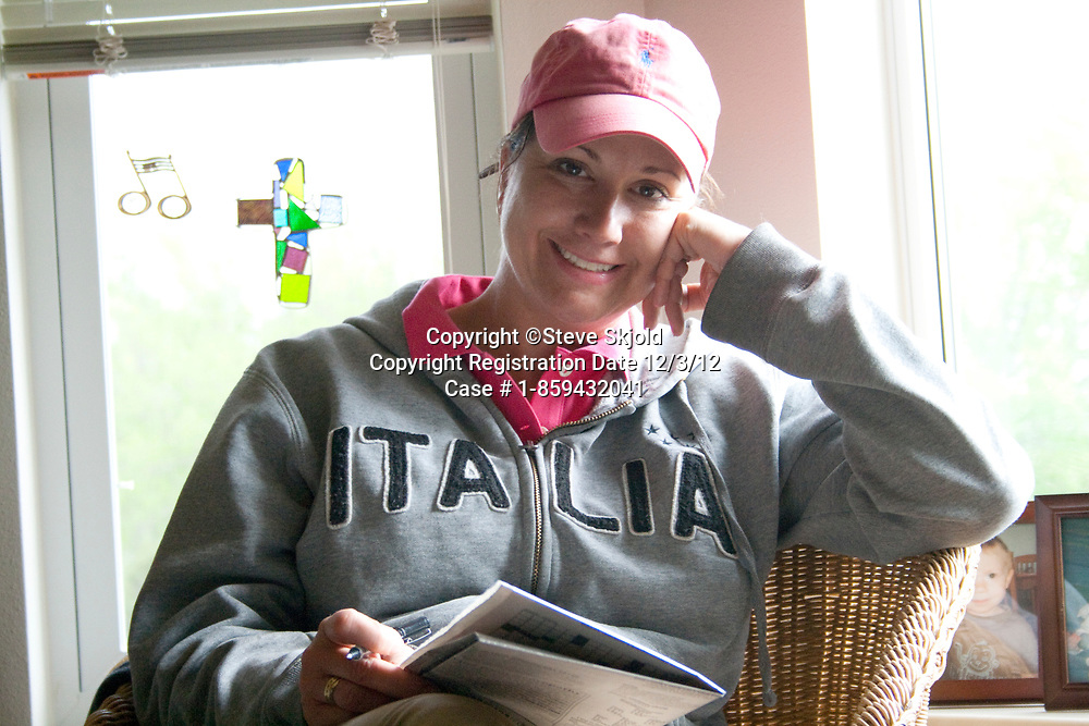 Happy woman of Italian descent wearing her favorite Italia hoody. Battle Lake Minnesota MN USA
