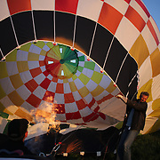 Pilot Philip Mundt, Denmark, and his crew prepare to launch their Hot air balloons around rural Michigan near Battle Creek during competition in the 20th FAI World Hot Air Ballooning Championships. Battle Creek, Michigan, USA. 22nd August 2012. Photo Tim Clayton