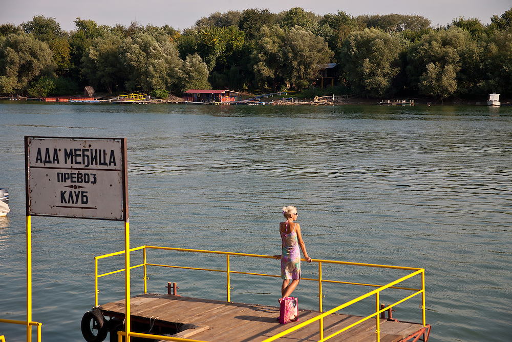 Waiting for a water taxi on the Sava River in New Belgrade, Serbia.