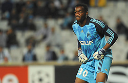 OM's goalkeeper Steve Mandanda during the UEFA Champions League Soccer match, Olympique de Marseille vs Liverpool at the Stade Velodrome in Marseille, France on September 16, 2008. Liverpool FC won 2-1. Photo by Steeve McMay/Cameleon/ABACAPRESS.COM