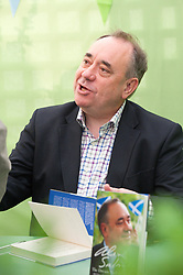 © London News Pictures. 31/05/2015. Hay-on-Wye, Powys, Wales, UK. Alex Salmon signs copies of his book - The Dream Shall Never Die: 100 Days that Changed Scotland Forever - On the last day of the Hay Festival 2015, Scottish politician and former SNP leader, Alex Salmond, talks to Helena Kennedy:  'Yes' - The inside story of the campaign for Scottish independence, told in Salmond's diary – The Dream Shall Never Die: 100 Days That Changed Scotland Forever. Photo credit : Graham M. Lawrence/LNP.