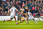 Darcy Graham (#15) of Edinburgh Rugby attempts to break through between Rob Herring (#2) and Luke Marshall (#13) of Ulster Rugby during the Guinness Pro 14 2018_19 match between Edinburgh Rugby and Ulster Rugby at the BT Murrayfield Stadium, Edinburgh, Scotland on 12 April 2019.