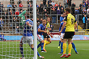 Christian Doidge hits the net during the Sky Bet League 2 match between Carlisle United and Dagenham and Redbridge at Brunton Park, Carlisle, England on 12 September 2015. Photo by Craig McAllister.