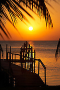 Belize, Central America - a small gate leads to a private dock on Caye Caulker