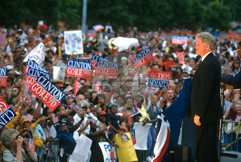 U.S. President Bill Clinton during a campaign stop on the presidential re-election bus tour on the way to the Democratic National Convention August 28, 1996 in Battle Creek, MI.
