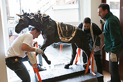 © licensed to London News Pictures. London, UK 15/06/2012. An imposing bronze horse by Salvador Dali being unpacked and it is expected to be sold for £200.000 - £300.000 by Bonhams on 19/06/12. Photo credit: Tolga Akmen/LNP
