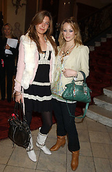 Left to right, AMANDA SHEPPARD and ELLIE SHEPHERD at a fashion show featuring the Miss Selfridge Autumn/Winter '05 collections held at The Wallace Collection, Manchester Square, London W1 on 6th April 2005.<br />