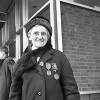 R4376 <br /> Miss R. Hackett pictured at the 1916 Commemoration, April 3 1966.  <br /> (Part of the Independent Newspapers Ireland/NLI Collection)