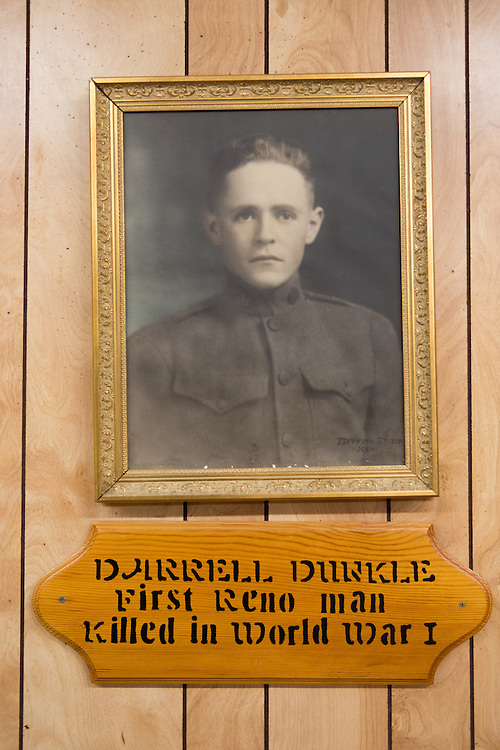 A portrait of Darrel Dunkle hangs inside American Legion Post 1 in Reno, Nev. during a System Worth Saving town hall on Tuesday, March 8, 2016. The post is named after Dunkle, the first Reno man killed in World War I. Photo by David Calvert /The American Legion.