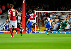 Bristol City's Jay Emmanuel-Thomas scores the opening goal of the game. - Photo mandatory by-line: Dougie Allward/JMP - Tel: Mobile: 07966 386802 04/09/2013 - SPORT - FOOTBALL -  Ashton Gate - Bristol - Bristol City V Bristol Rovers - Johnstone Paint Trophy - First Round - Bristol Derby