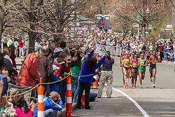 2014 Boston Marathon: lead pack of elite women race passes mile 18 in the Newton Hills, Shalane Flanagan