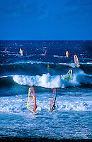 Windsurfing at Ho'okipa Beach, near Pa'ia, Maui, Hawaii USA