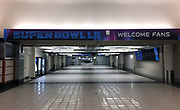 General overall view of Super Bowl LII signage at the Minneapolis-St. Paul International Airport (MSP) in Minneapolis, Sunday, Jan 14, 2018. Super Bowl LII will be the 52nd Super Bowl and the 48th modern-era National Football League championship game. It will decide the league champion for the 2017 NFL season. The game will be played on Sunday, Feb. 4, 2018 at U.S. Bank Stadium in Minneapolis. It is the second Super Bowl in Minneapolis, which previously hosted Super Bowl XXVI in 1992. It will be the sixth Super Bowl in a cold weather city.