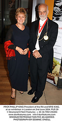 PROF.PHILLIP KING President of the RA and MRS KING, at an exhibition in London on 2nd June 2004.PUS 29
