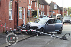 MANCHESTER UK 28.04.2017 A man is in hospital after audi hit a another and then hitting a lampost and  front  garden. Emergecy crews were called to the  Mount road in Manchester at 6am  the man in the Audi had to be cut from the car by the fire service.<br /> <br /> You will notice there is a open can of stella in the foot well of Audi and and spray up the wall.<br /> <br /> OFF THE RECORD COP AT THE SCENCE  TOLD ME HE WAS  DRIVING AND DRINKING THE CAN OF STELLA