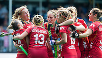 ANTWERP -    Emilie Sinia (14) from Belgium  scored 1-0 and celebrates with her teammates , during  the match of Belgium v Poland .   WSP COPYRIGHT KOEN SUYK