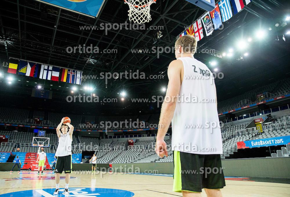 Jaka Klobucar and Zoran Dragic during practice session of Slovenia National Basketball Team 1 day prior to the FIBA Europe Eurobasket 2015, on September 4, 2015, in Arena Zagreb, Croatia. Photo by Vid Ponikvar / Sportida